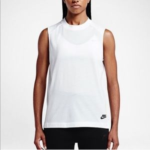 Nike Sportswear White High Neck Tank Top- Large